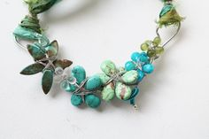 Turquoise and Green Wire Wrapped Flower by jenniflairjewelry