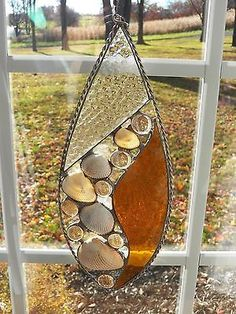 Leaded Stained Glass Teardrop Window piece; Real Glass- HANDMADE IN THE USA