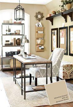 Home office with Ballard Designs furnishings. Benjamin Moore Wheeling Neutral paint color.