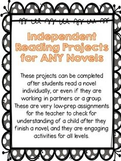 These projects can be used for independent reading books, literature circle projects, or a project for any book read! These are low to no-prep for the teacher, and fun, exciting, and engaging CHOICES for the students. Reading Projects, Book Projects, Reading Books, Books To Read, Middle School Ela, Independent Reading, Literature Circles, Student Reading, Any Book