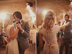first dance loveliness http://su.pr/2YpNJl (love the bride's hair & blush pink sash!)