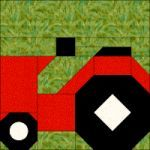 You could add this block to the back of your farm quilt as a label. Quilt Square Patterns, Paper Pieced Quilt Patterns, Patchwork Quilting, Patchwork Patterns, Tractor Quilt, Farm Quilt, Farm Animal Quilt, I Spy Quilt, Homemade Quilts