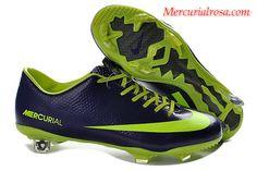 Nike Mercurial Vapor IX(9) FG Soccer Cleats Midnight Blue Fluorescent Green Soccer Cleats