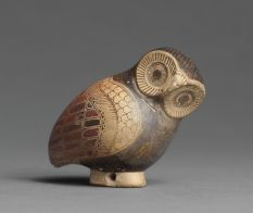 Corinthian Aryballos in the Shape of an Owl   Louvre  Paris - Department of Greek, Etruscan, and Roman Antiquities: Archaic Greek Art (7th-6th centuries BC)