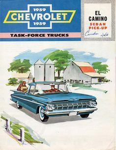 Chevrolet El Camino Sedan Pick Up 1959 - Mad Men Art: The Vintage Advertisement Art Collection Chevrolet Trucks, Chevrolet Impala, 3008 Peugeot, Peugeot 205, Vintage Advertisements, Vintage Ads, Classic Trucks, Classic Cars, Classic Auto