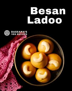 Besan Ladoo, or Besan ke Laddu, is a popular Indian sweet in the shape of delicious, melt-in-your-mouth balls. It is made from gram flour, powdered sugar and clarified butter (ghee). Try this most delicious sweet with this easy fail-proof recipe. #besanladoo #besanladdu #laddu #ladoo Indian Dessert Recipes, Indian Sweets, Indian Snacks, Indian Food Recipes, Cake Roll Recipes, Sweets Recipes, Kitchen Recipes, Cooking Recipes, Kitchens
