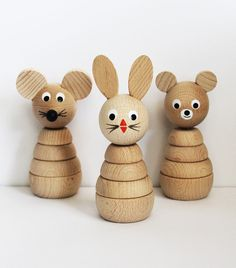 Natural Wood Animal Stacking Toys