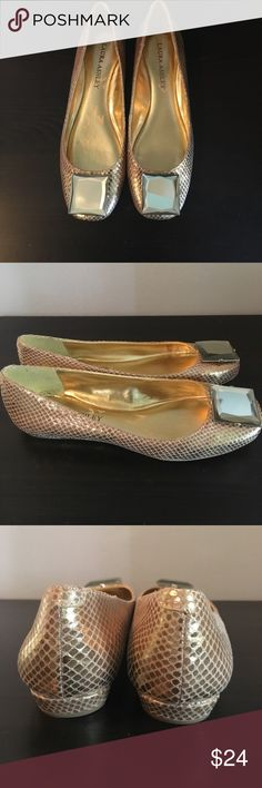 Gold Jeweled Flats Trendy metallic gold flats with jeweled buckle, very cute✨ Laura Ashley Shoes Flats & Loafers