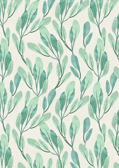 Simple Teal Green leaves by irtsya (redbubble)