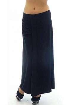 Black jersey skirt with elastic waist. The skirt is with length to under the ankles. The model is with trapeze-looking cut. The front part of the skirt has small horizontal tucks and fakes two layers of fabric.
