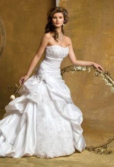 Strapless taffeta gown by camille la vie