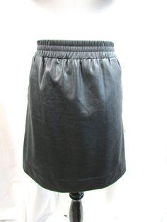 Ann Taylor Loft Black Faux Leather Mini Skirt Pockets Size Large L Excellent #AnnTaylorLOFT #Mini