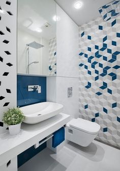 bathroom tiles small geometric gray blue fitted wardrobe white wall mirror cabinet