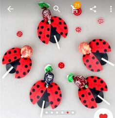 Brand Name: wedliesEvent & Party Item Type: Candy BoxOccasion: PartyModel Number: PaperboardType: Event & Party Supplies for kids Lollipop Insect Card Decoration Candy Bees Ladybug Butterfly Gift Cute Birthday Party For Kids Wedding Decor Spring Crafts For Kids, Gifts For Kids, Miraculous Ladybug Party, Lollipop Decorations, Decoration Birthday, Ladybug Crafts, Ladybug Decor, Butterfly Gifts, Butterfly Design