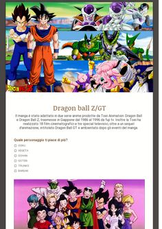 sondaggio pubblico realizzato con google drive sul miglior anime realizzato da toei animation: DRAGON BALL, DRAGON BALL Z e DRAGON BALL GT