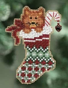 """MH180301 - Kitty's Stocking (2010) - Mill Hill - Seasonal Ornament / Pin Kits - Winter Holiday Kit Includes: Beads, treasures, 14ct perforated paper, floss, speciality threads, needles, chart, magnet and instructions. (1 of 6 designs in display Size: 2.25"""" x 3.25"""""""