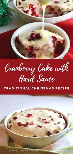 A beautiful and festive dessert, Easy Cranberry Cake with Hard Sauce will make a unique sweet ending for your Christmas meal. Full of fresh tart cranberries, it has a winning combination of flavors and textures, and the creamy, blissful yumminess of a decadent hard sauce. Easy Cranberry Cake with Hard Sauce is my new favorite dessert. It's a not-too-sweet, super moist cake, the texture is more of a cross between pudding and cake.  It's denser than a regular cake and out of this world… Brunch Recipes, Easy Dinner Recipes, Easy Meals, Hard Sauce, Traditional Christmas Food, Cranberry Cake, Moist Cakes, Cranberries, Christmas Traditions
