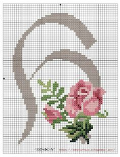 alphabet - h - rose - point de croix - cross stitch - Blog : http://broderiemimie44.canalblog.com/