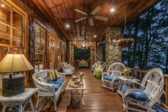 Stone columns and recessed lighting for the traditional, rustic deck [From: North Georgia Virtual Home Tours]