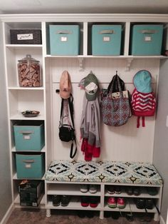 Mud Room Built Ins from Ikea Bookcases.I love the fabric on the bench. Need to find for my mudroom. Mudroom Laundry Room, Laundry Room Organization, Ikea Laundry, Small Laundry, Closet Mudroom, Garage Laundry, Laundry Baskets, Cubbies, Ikea Bookcase