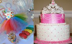 I want to do the cake on the right with a tutu around it like the cake on the left.  I also think it would be cute to use a real tiara Adi can wear during her party.  :D