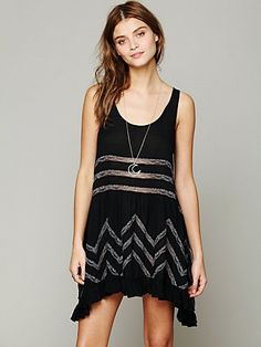Free People - Voile and Lace Slip Dress sashahawaii.com in Black and Print