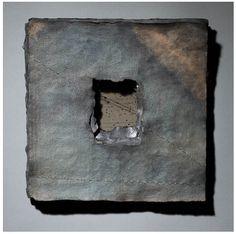 Artist-made paper, flax, indigo, black walnut dye, stitched lines.  Claudia Lee