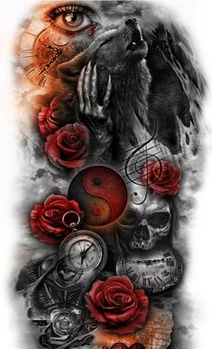 Skull Rose Tattoos, Skull Girl Tattoo, Skull Sleeve Tattoos, Skull Tattoo Design, Sleeve Tattoos For Women, Tattoo Sleeve Designs, Tattoo Designs Men, Body Art Tattoos, Tattoo Drawings