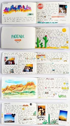 my travel sketchbook: Denver & Phoenix A few days ago I came back from my trip to Denver, Colorado and Phoenix, Arizona. I've kept a moleskine sketchbook with me throughout the trip and filled it with urban sketches, instax photos… Album Journal, Scrapbook Journal, My Journal, Travel Scrapbook, Journal Pages, Journal Ideas, Memory Journal, Daily Journal, Baby Scrapbook