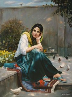 Mitra Shadfar This is extra ordinary beautiful art I can't describe Indian Art Paintings, Classic Paintings, Beautiful Paintings, Persian Girls, Iranian Art, Painted Ladies, Woman Painting, Islamic Art, Female Art