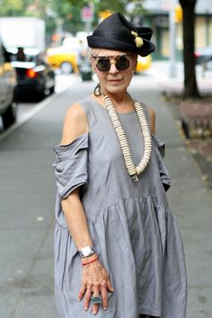 Go ahead...drop the hat, necklace & glasses (if she can) & we have a great look...;0)....seriously though, love the dress! Debra Rapoport  ADVANCED STYLE: