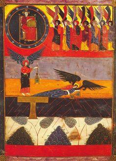 Beato ( V ) Facundo o de Fernando I y doña Sancha Medieval Life, Medieval Art, Medieval Manuscript, Illuminated Manuscript, Romanesque Art, Angel Art, Sacred Art, Religious Art, Ancient Art