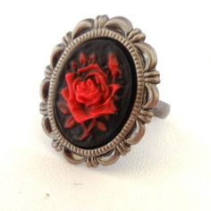 Every Rose Has A Thorn Ring...Victorian Oxidized Silver Plated Filigree and Red Rose Cameo Ring | BadInkClothing - Jewel