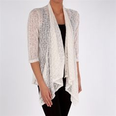 Status by Chenault Lacework Cardigan with Open Front #VonMaur #Status #Cardigan