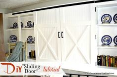How to build a DIY sliding door {tutorials} by Jessica Bruno @ www.fourgenerationsoneroof.com #tutorial #DIY