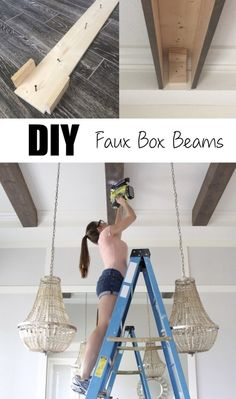 DIY Faux Beams in my Dining Room – Frills & Drills – Ceiling Faux Wooden Beams, Faux Beams, Wooden Beams Ceiling, Wood Beams, Fake Beams Ceiling, Home Renovation, Home Remodeling, Ceiling Design, Wooden Diy