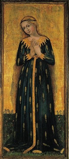 """Madonna of Ears, ca 1450, Tyrol. 'Madonna of Ears' is a type of depiction of Mary in a dress decorated with golden wheat ears """"as the fertile soil and untilled field of God called to bear fruit, a symbol for her virginal motherhood . Another socio-cultural source for this rare iconographical motif may be found in Demeter whose attribute was the blade of wheat, symbol of fertility."""" Text by Sister M. Danielle Peters"""