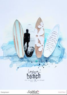 Juli Kit Steffi Ried *Laguna Beach* Layout #scrapbookwerkstatt #scrapbooking #surfboards #watercolor