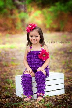 Purple Romper and Leg Warmers Set