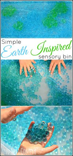 Simple Earth inspired sensory bin for kids that uses only 2 materials from And Next Comes L