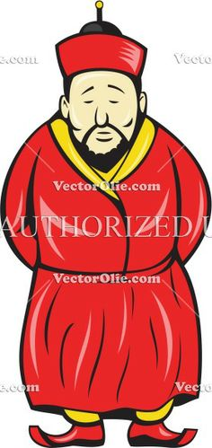 Asian, cartoon, chinaman, chinese, front, hat, illustration, isolated, male, man, oriental, robe, standing, wearing