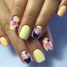 Beautiful summer nails, Cheerful nails, Delicious nails, Heart nail designs, Ice-cream nails, July nails, June nails, Manicure by summer dress