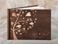 Brown Wood Guestbook Wooden Wedding Guest by forlovepolkadots