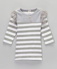 Gray & White Stripe Pearl Button Dress - Toddler & Girls by Sweet Cheeks #zulily #zulilyfinds