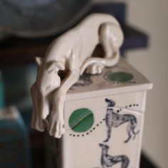 Image of Tall sleeping Greyhound Whippet memory box with green polka dots