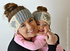 Free crochet pattern: Granny Heart Headwarmer in 4 sizes from toddler through adult medium/large by A Crocheted Simplicity