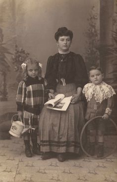 1900s Edwardian Belle Époque Original Antique RARE Real Photo Postcard RPPC Family Studio Portrait Mother and Children from Antwerp, Belgium