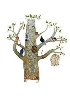 Oak Tree illustration decorative print 8x11 by ChasingtheCrayon