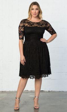81990d3e4e6 Black Lace Plus Size Dress - Black slightly full A-line skirt on this knee