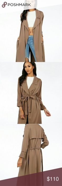 Kourtney Duster Coat BEAUTIFUL long brown camel coat! BRAND NEW WITH TAG! Thin enough for the spring but warm enough for autumn! Versatile and extremely stylish!    Refer to pics 2, 3, 4 & 5 for coat :)   97% Rayon 3% Spandex  Hand wash cold   No offers on this item please! :) Jackets & Coats